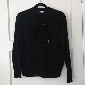 Rails Olivia black lace up cashmere wool sweater